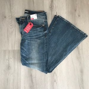 Express Stretch Mid Rise Bell Flare Jeans NWT